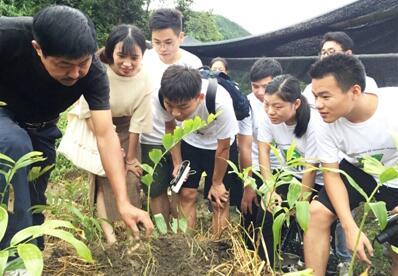 图为种植户为学生介绍玉竹种植情况